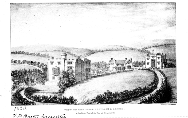 'Castellated Villa' (Gloucester Lodge) and St Leonards Gardens circa 1829